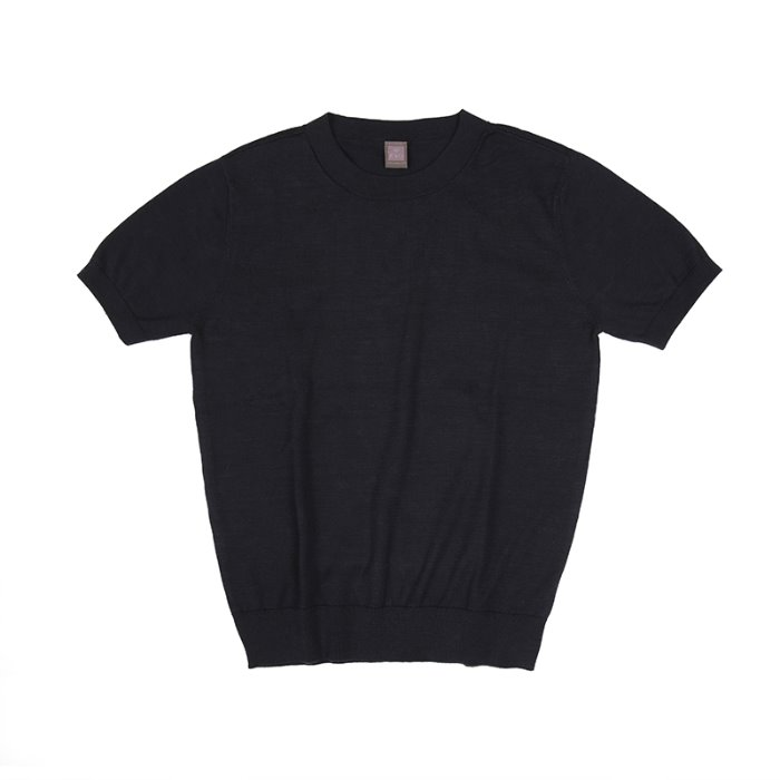 Women Supima half Crewneck_Navy