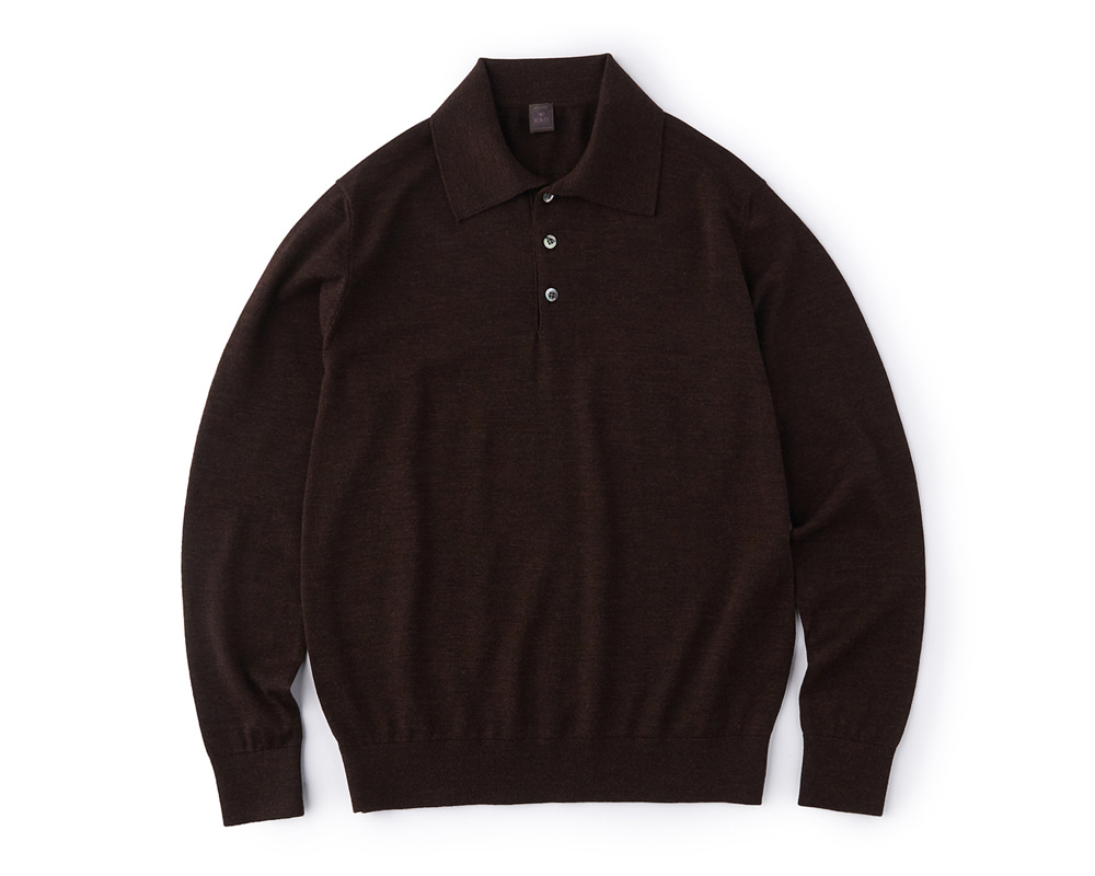 Premium Merinowool Polo_Brown